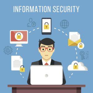 Grafisk illustrasjon på blå bakgrunn. Mann sitter bak en laptop. illustrasjoner i en sirkel rundt han, bilder av et dokument, PC, smarttelefon, et brev og en sky, alle med en sikkerhetslås.